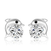 Dolphin love ear studs 925 sterling silver earrings TJ0088