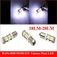 6PCS  18-20LM  BA9S T11 T4W High Power 5050 Car White W5W 9 SMD LED Light Lamp Bulb Wedge RV 12V, Free & Drop Shipping