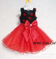 Hot Sales! Girl Dress Children Party Dress Sleeveless Rose Flower Black& Red Girl's Evening Dress With Bowknot 5pcs/lot