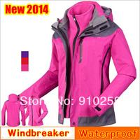 new Spring 2014 brand women's 2-Layer Winter snowboard skiing hiking jackets windbreaker Sport Outerwear Waterproof ski suit