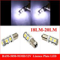 100PCS 18-20lm  BA9S T11 T4W High Power 5050 Car White W5W 9 SMD LED Light Lamp Bulb Wedge RV 12V
