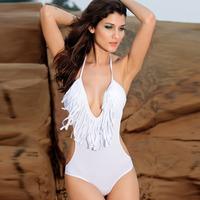2014 Dila Meng European and American women's new summer swimwear tassel deep V -piece bikini swimsuit