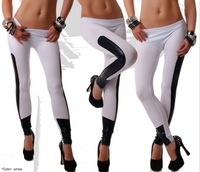 2014 New Fashion hot-selling fashion candy color milk silk patchwork faux leather legging color ankle length trousers