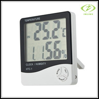 Indoor Digital LCD Display Thermohygrograph Clock/ Hygrometer/ Thermometer 3 in 1 CE Approval HTC-1