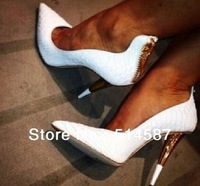 Pointed toe 2014 White Leather High Heels Dress Shoes Gold Heels Back Zipper Women Party Pumps