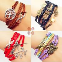 100pcs/lot  Mix Infinity Anchor Rudder leather bracelet love owl handmade bracelet LOVE bike ancient friendship bangles jewelry