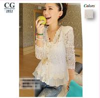 2014 New Skinny Shoulder Pad Precious Mosaic Lace Shirt Cardigan Sunscreen Shirt Air-Conditioning M~XXL Plus Size#CGS007