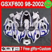For SUZUKI KATANA GSXF600  1998 1999 2000 Dark blue flames 2001 2002 26C14  GSX600F blue white GSXF 600 98 99 00 01 02 Fairing