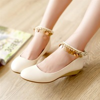 Spring and autumn sweet tassel shoes women's strap high-heeled shoes wedges round toe single shoes female