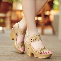 Platform open toe shoes female high-heeled sandals wedges sandals female