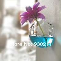 2014 New Fashion Manual Hydroponic Glass Wall Flower Vase Home Creative Decoration Free Shipping