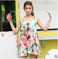 New Fashion Chinese Ink Painting Big Flower Beach Dress Sleeveless Sundress Short Dress Free Shipping
