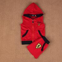 Retail! Children's suit 2014 new boys Clothing Set Kids F1 racing hooded vest+shorts pants fashion clothes Sports suit