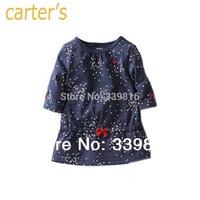 2014 New Arrival Original Carter's Newborn Baby Girl's Half-sleeve Blue Polka Dot T-Shirt for Infantil NB/3M/9M/12M/18M/24M/3T