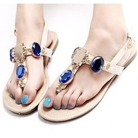 2014 New Free Shipping summer new super flash diamond gem sandals flip flat shoes with flat sandals Rome