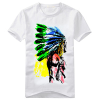 2014 fashion summer  male cotton short-sleeve T-shirt  men print tees tops