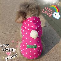 Small dot fresh velvet button outerwear pet clothes dog clothes