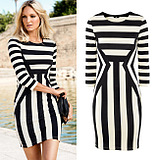 SML XL 1 Colour Womens Celeb Monochrome Black White Striped Optical Illusion Party Bodycon Dress