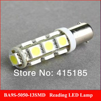 Freeshipping 6 X T11 BA9S White 5050 SMD 13 LED Car Light Bulb Lamp 12V  T4W  H6W  Indicator License Plate Map Dome