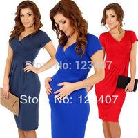 New Fashion Elegant Celebrity V-neck Short Sleeve Knee-length Cotton Casual Bodycon Women Dresses