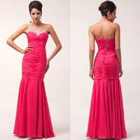 Fast Delivery! Grace Karin Elegant Deep Pink Evening Dress Long CL6060