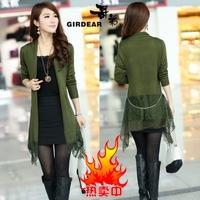 2014 spring women's medium-long slim wool cardigan cape outerwear