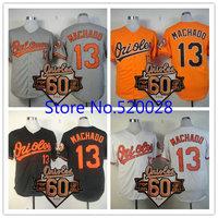 2014 Baltimore Orioles #13 Manny Machado black white orange Baseball Jersey with Commemorative 60th Anniversary Patch Cool Base