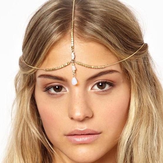 2014 hot sale fashion golden beaded snake chain shell water drop shape pendant charm hair crown headbands jewelry drop shipping(China (Mainland))