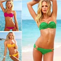Low Rise Bikini Swimwear Sexy Cool Women Lady Halter Twist Bandeau Padded Bra
