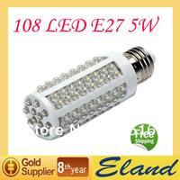 Free shipping 2 pcs/lot 5W E27 Screw Corn Light Bulb 200V Y510 360 degree Cold White