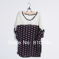 2014 wholesale Splicing Polka Dot Chiffon shirt fashion leisure T shirt blouse