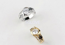 SGLOVE Wellknown Series 18K Gold Plated and 100 Austrian Crystal Interlocking Ring with Perfect Lines Radian