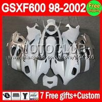 For SUZUKI KATANA GSXF600 white silver  GSXF 600 GSX600F  26C13 GSXF 98 99 00 01 02 1998 1999 2000 silvery 2001 2002 Fairing
