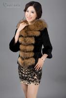 EMS Free Shipping 100% Real Genuine Natural Raccoon Fur Collar Rabbit Fur Coat Jackets Luxury Slim Short Garment Women PC79