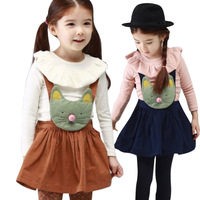 2014 New Hot Selling Spring Autumn Children's Girls Fashion Cotton Ruffled Collar Lolita Braces Dresses