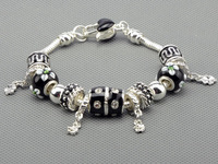 Classic European Style 925 Silver Charm Bracelets And Bangle for Women, Black Murano Glass Beads Bracelets DIY Jewelry PAN-BR013