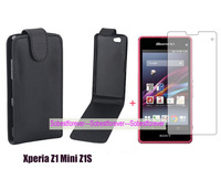 new black Flip leather case cover+1X clear screen protector lcd film For Sony Xperia Z1 Mini Z1S