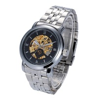 ORKINA Gold engraving men mechanical hand wind double faced cutout revealed  men's watch steel strip,free shipping