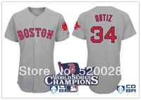 2013 World Series Champions 2014 Boston red Sox #34 David Ortiz Grey Red Fonts Baseball Jersey Embroidery logos cool base