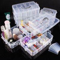 Portable removable transparent plastic storage box jewelry jewelry box portable multi-function three cosmetic storage box