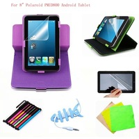 "Rotary 8inch Magic Leather Stand Case Cover +Stylus Pen+Free Film For 8"" Polaroid PMID800 Android Tablet"