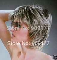 Natural Kanekalon costum Medium hair no lace Natural Kanekalon Fiber Hair wigs VOGUE Gray MIXED SHORT DARK GREY WOMEN'S WIG