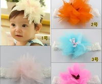 2014New Fashion Children Hair Accessories Baby Flower Headband Handmade Lace Chiffon Hair bands For Girl Kids Gift Free Shipping