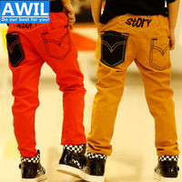 KP002 Free Shipping new 2014 high quality Children's leisure trousers embroidered spring model