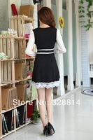 2014 new spring women's knitted winter OL cultivating long-sleeved lace dress large size wild bottoming skirt