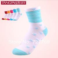 factory wholesale girls comfort anti-bacterial scissor knitting cotton socks (20pairs/lot) Free shipping calcetines mayorista