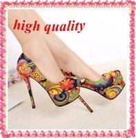 free shipping sexy red bottom high heels fashion ladies women shoes woman platform pumps 2014 girls flowers print party Z428