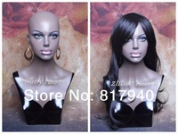 Newest!!High quality Fiberglass Realistic female mannequin dummy head bust for wigs & hat & sunglass & jewelry display