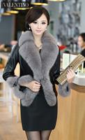 2014 New Spring Autumn Women's Genuine Sheepskin Leather Coat Jackets Fox Fur Collar Lady Slim Short Outerwear Coats VK1344