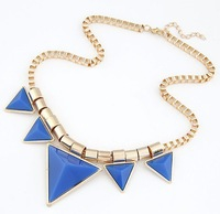 Vintage Jewelry Blue Geometry Triangle Personality Design  Golden Chunky Square Chain For Women